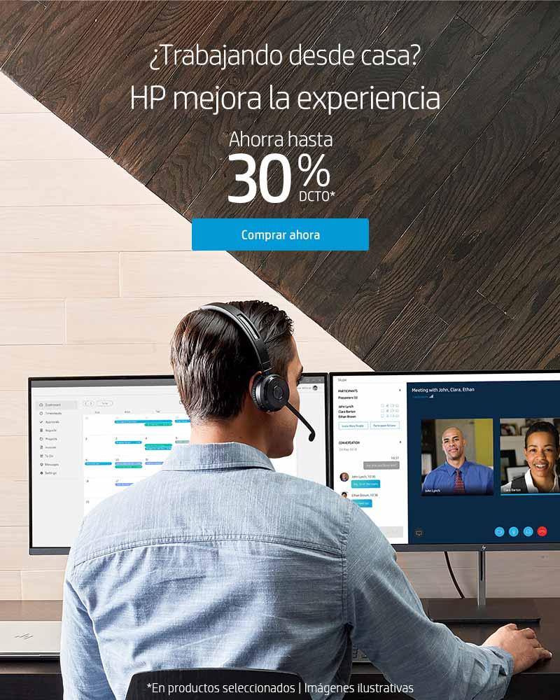 ¿Trabajando desde casa? HP mejora la experiencia. Ahorra hasta 30% dcto
