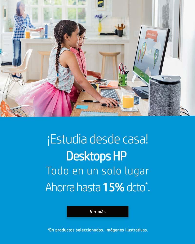 ¿Trabajando desde casa? Desktops HP, todo en un solo lugar. Ahorra hasta 15% dcto.