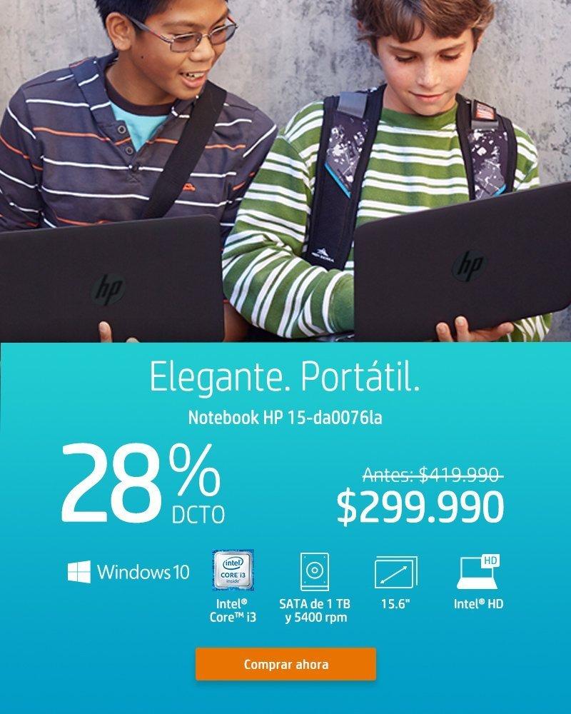 Elegante. Portátil   Notebook HP 15-da0076la 28% dcto