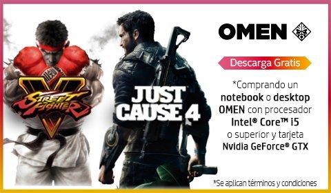 OMEN jugamos para mejorar   Descarga gratis Street Fighter V o Just Cause 4 comprando un notebook o desktop OMEN con procesador Intel Core i5 o superior y tarjeta NVIDIA GeForce GTX