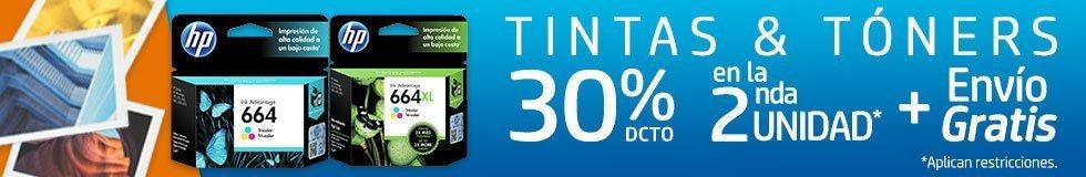 Tintas & Tóners 30% Dcto. en la 2a Unidad + Envío Gratis